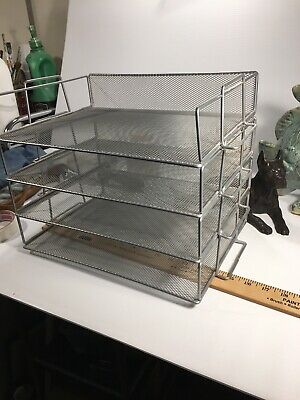 4 Stackable Metal Mesh File Desk Trays Organizers - Home Office Organization