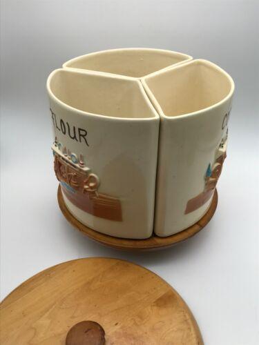 VTG Ceramic & Wood Flour Coffee Sugar Canister Set Marked USA Lazy Susan Pottery