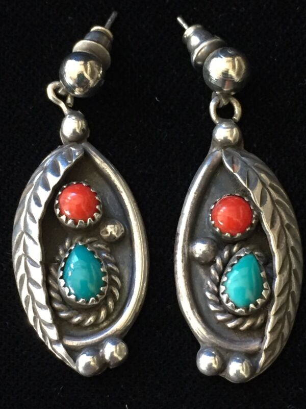 Old Vintage Navajo Coral And Turquoise Sterling Earrings-Signed
