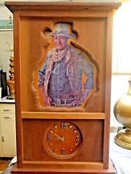 John Wayne The Duke Large Vintage Wood Rustic Clock - Western Style Man Cave