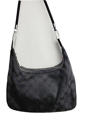 Vintage Gucci Shoulder Bag Purse GG Monogram Black Canvas Leather Distressed