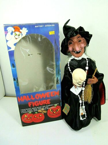 VINTAGE 1988 HALLOWEEN WITCH FIGURE ELECTRONIC SOUND BLINKING LIGHTS FUNNY TOYS
