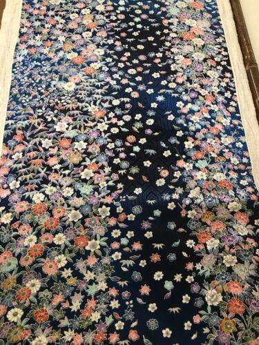 @@ 165 cmx 34 cm  Japanese kimono silk fabric/ smooth weave/ blue gradation FX44
