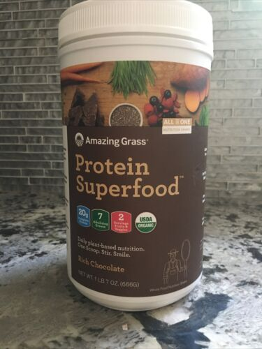 Amazing Grass Protein Superfood Rich Chocolate New 1lb 7oz 666g Exp 05/2021