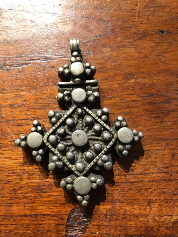 Antique Ethiopian Hinged Silver Coptic Christian Cross Pendant.