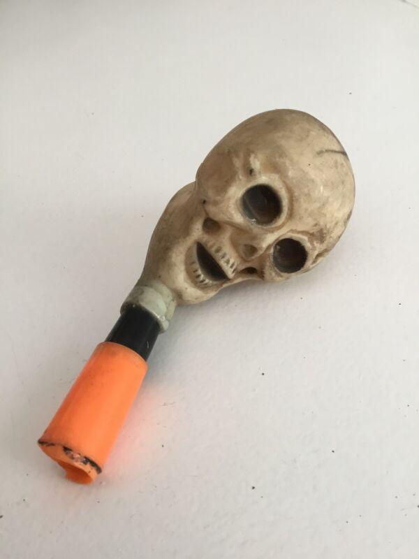 Vintage Plastic Rubber Halloween Whistles , Skull Squeak Toy Noise Maker