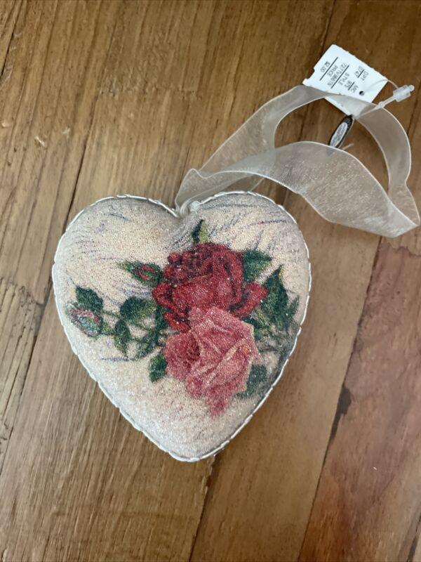 Dillard's Trimmings Heart Lace Roses Ornaments Six Per Box - New
