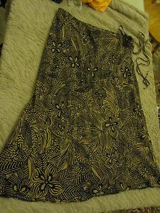 calf length skirt by bon marche black sand brown