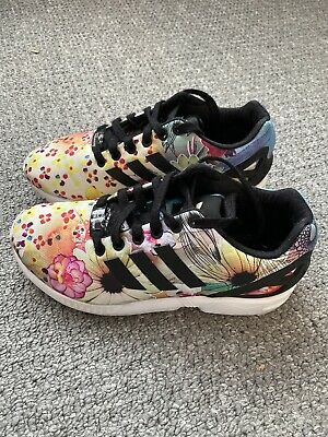 Womens Floral Adidas ZX Flux Torsion Trainers Running Shoes -Size UK 4.5