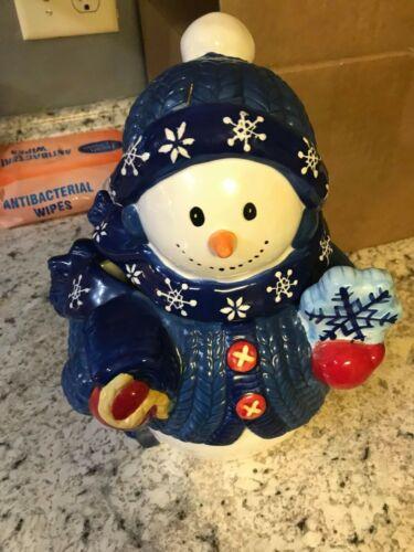 Bico Festive Frosty Snowman Cookie Jar dressed in blue