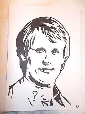 A4 Black Ink Marker Pen Sketch Actor Peter Davison as The Fifth Doctor