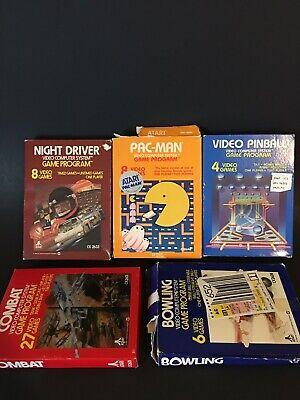 Vintage Lot Of Atari CX Video Games 5 Games w/ Box Bowling Night Driver Pac-Man