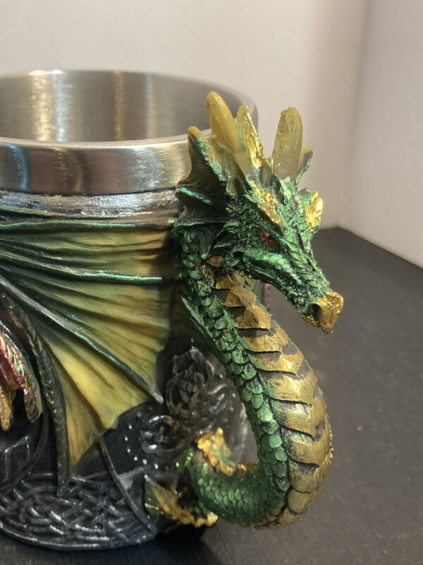 Gothic Green Dragon Tankard Celtic Knot work Mug Cup ~ pencil holder ~ desk top