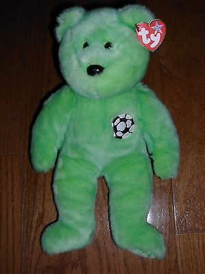"TY BEANIE BUDDY ORIGINAL ""KICKS"" THE GREEN SOCCER BEAR PLUSH STUFFED ANIMAL NICE"