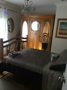 Antique Bedroom Suite, wardrobe, double bed & mirror dressing table