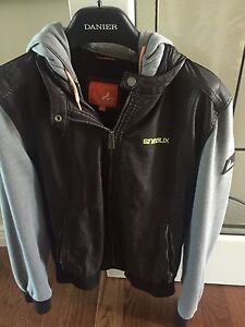 Leather jacket with hoodie hood and sleeve size