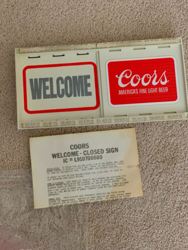 Vintage COORS BEER 2-Sided Sliding Sign WELCOME CLOSED THANK YOU, NEW