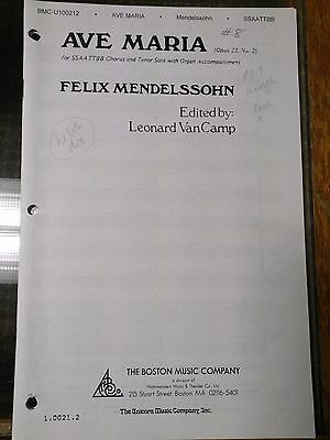 Ave Maria Music Book Felix Mendelssohn Leonard VanCamp 28 pages SSAATTBB Organ Ave Maria Music Book