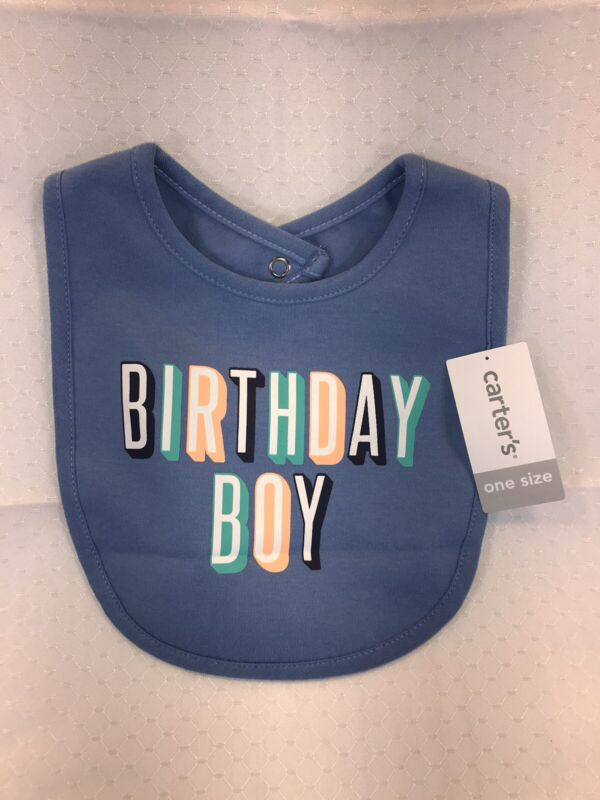 NEW Carters Birthday Boy Infant Toddler Baby Feeding Bib Blue Party Cake