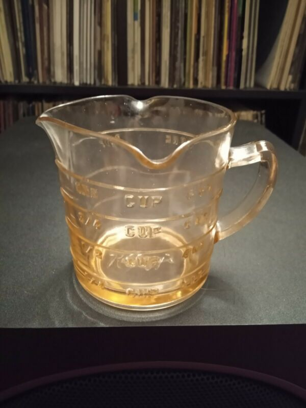Kelloggs Pink Measuring Cup Depression Glass 3 Spout Promo Advertising Vintage