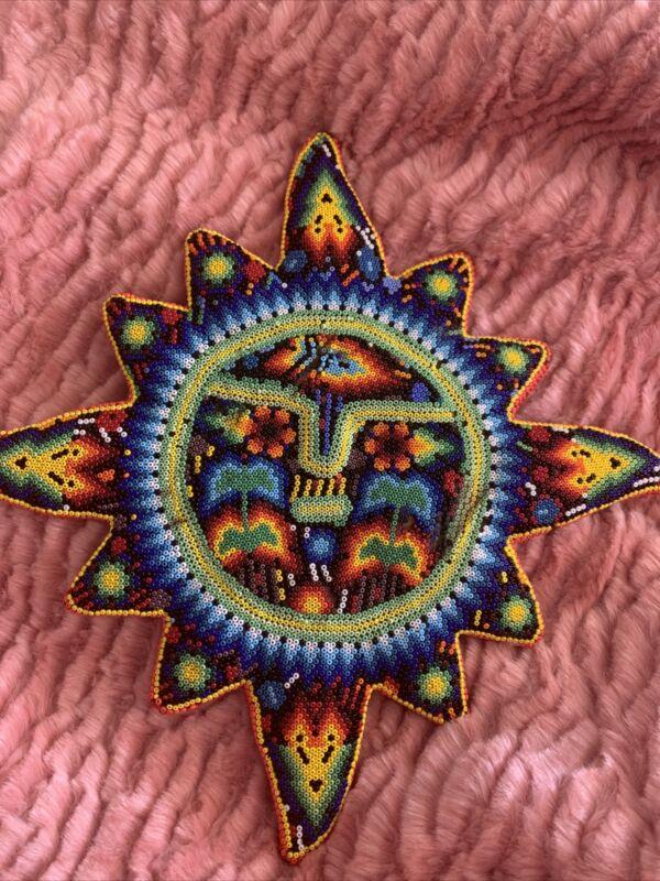 Beautiful Huichol Hand Beaded Sun Art (7921)