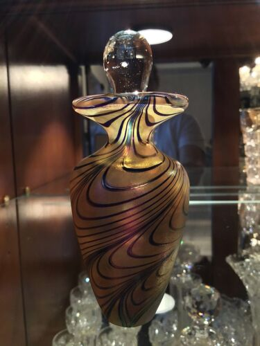 Robert Held Pulled Feather Irridecent Perfume Bottle w Stopper / Canada Unsigned