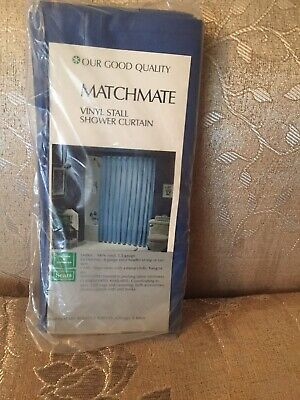 Our Good Quality Matchmate Heavy Duty Vinyl Stall Size Shower Curtain Blue