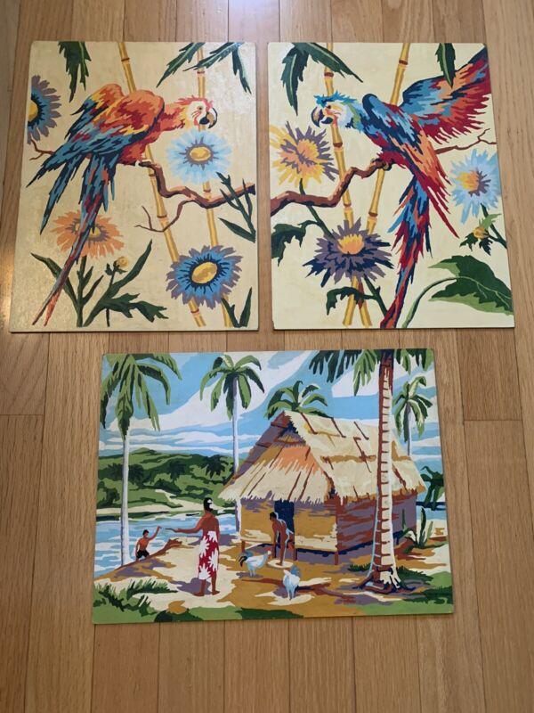 3 Vintage Hawaiian Tiki Hand Painted Paintings  Parrots Hut Flowers On Board Mid