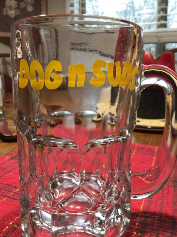 "Rare Vintage Original Dog N Suds Mug Sign Logo Mug Root Beer Heavy 16 Oz 6""Glass"
