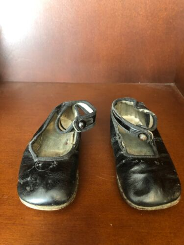Vintage Antique Girls Baby Shoes Mary Jane Black Shoes Slippers