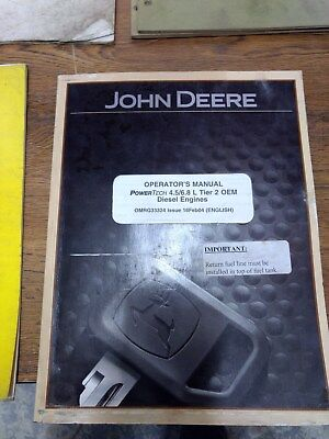 John Deere Operators Manual Powertech 4.56.8 L Tier 2 Oem Diesel Engines