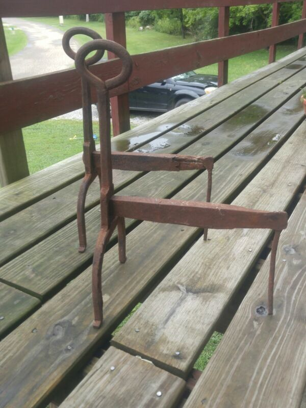 Early HAND Forged Primitive WROUGHT IRON ANDIRONS 18th-19th c Colonial ? LOOK !