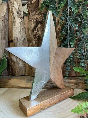 Shaker Style Metal & Wood Christmas Star Ornament Xmas Wedding Table Decoration