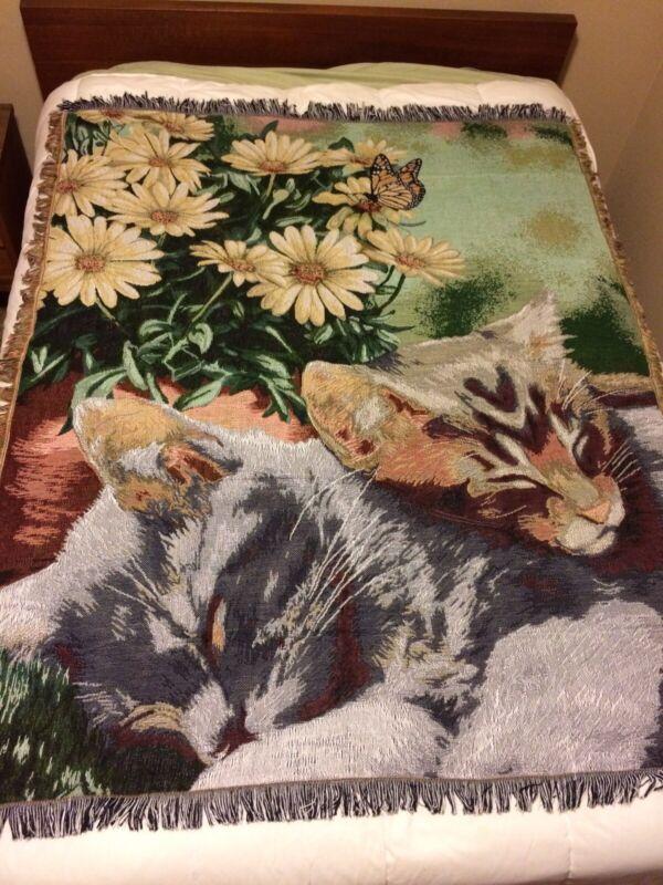 "NEW Sleeping Kittens Tapestry Throw Cat Blanket Cute Kitten 63x53"""