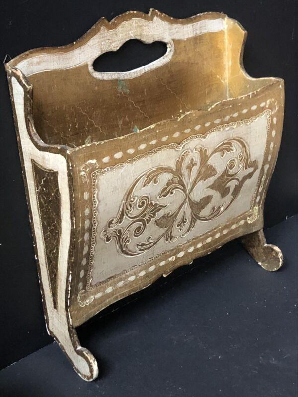 Vintage UNIQUE Gold Florentine WALL MAGAZINE HOLDER Mail Italy ITALIAN Antique