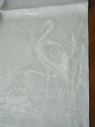 2 Antique bath High End Linen show towel damask heron birds art Nouveau h trim