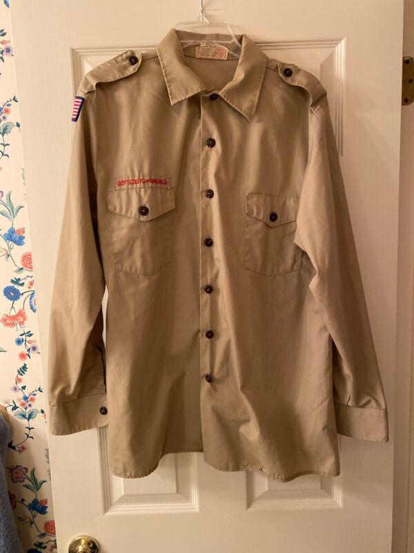 Boy Scout BSA UNIFORM SHIRT Mens Large Long Sleeve Tan #1