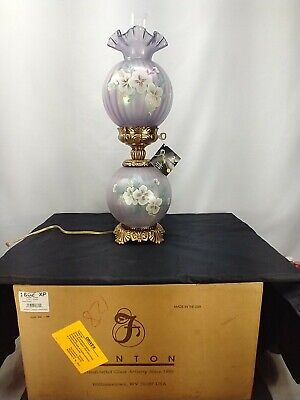 Fenton GWTW Violet Satin Lamp Signed D. Robinson Ltd ed 1999 Hand Painted