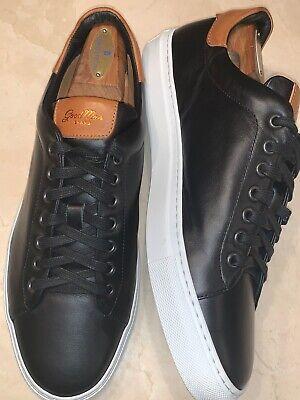 GOODMAN BRAND 'LEGEND' MENS BLACK/VACHETTA LEATHER LOW TOP SNEAKER 10.5M $198 Goodman Mens Leather