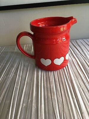 Used, Waechtersbach red pitcher white hearts Germany 5 3/4 high for sale  Carmichael