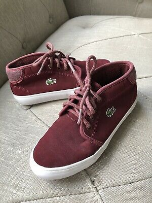 Lacoste boys Marroon Red High Top Fashion Sneaker Shoes Size 13