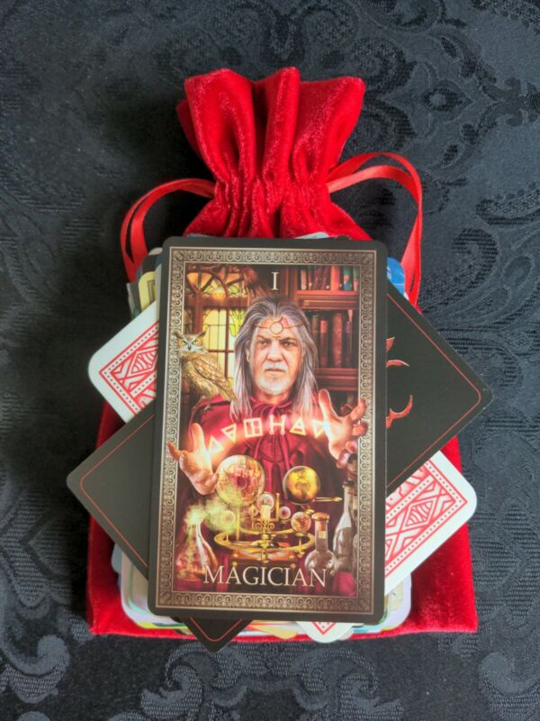 100 Mysterious MAGICAL MIX Lot Tarot/Oracle Cards in a RED Velvet Bag OCCULT