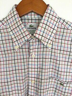 Lacoste Men's Long Sleeve Plaid White Multicolored Shirt Size 38 Cotton