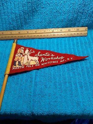 Vintage Christmas Pencil Flag Santa's Workshop Whiteface Mt. N.Y.