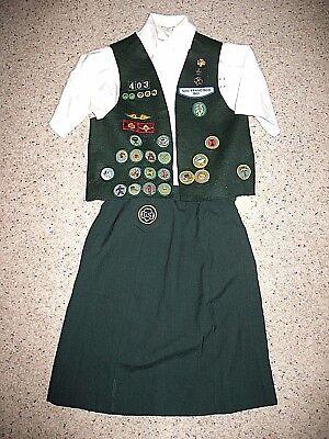 CADETTE Girl Scout Uniform 1973-79 Skirt Blouse Badge-Vest Halloween Costume - Girl Scout Uniform Costume