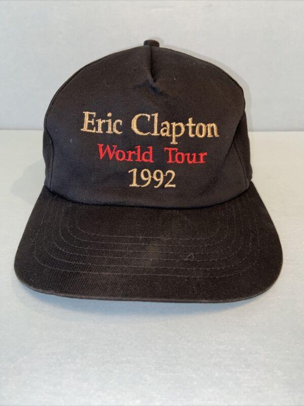 Vintage Eric Clapton Baseball Cap Hat World Tour 1992, Guitarist Snap-back Black
