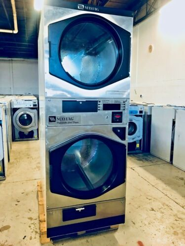 Coin or Card Operated Commercial Maytag MLG32PD Stack Gas Dryer, 120V, Used