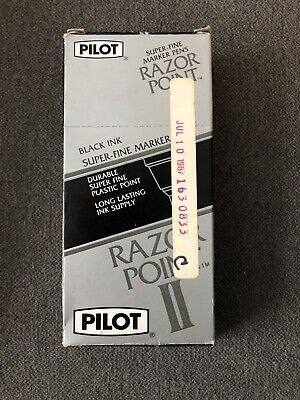 Vintage Pilot Razor Point Ii Super Fine Marker Pens Sw-r Black Ink 9 Count