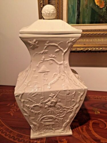 Pair of Covered Porcelain Urns