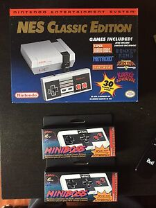 Sealed Nintendo mini classic with 3 controllers